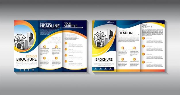 Blauwe brochure driebladige zakelijke sjabloon