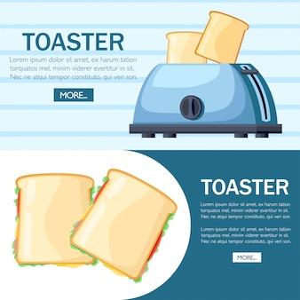 Blauwe broodrooster. stalen broodrooster met twee sneetjes brood. stijl . twee kant-en-klare sandwich. illustratie op achtergrond