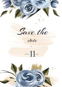 Blauwe bruiloft bewaar de datumkaarten