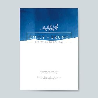 Blauwe bruiloft uitnodiging kaart vector