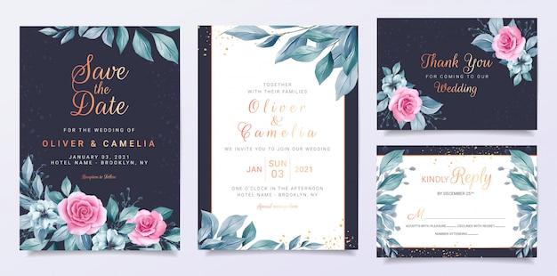 Blauwe bruiloft uitnodiging kaartsjabloon ingesteld met bloemendecoratie en blauwe bladeren