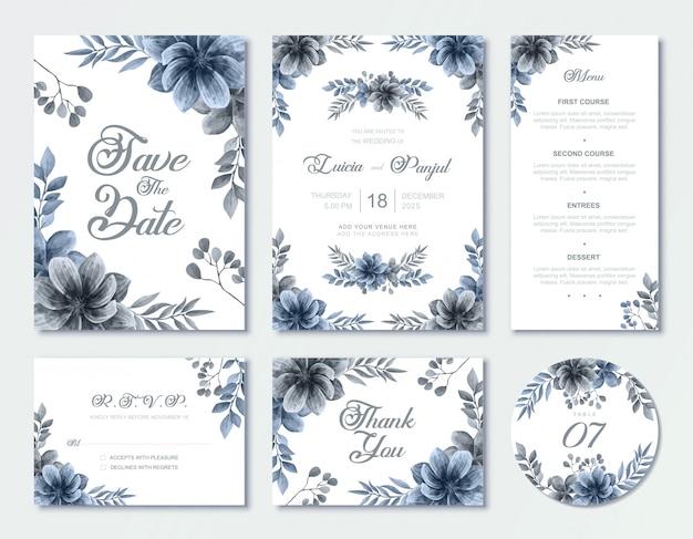 Blauwe bruiloft uitnodiging kaartsjabloon set met aquarel floral style rsvp menutabel