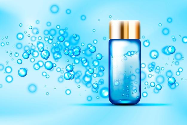 Blauwe bubbels en parfum glazen fles op abstracte ruimte