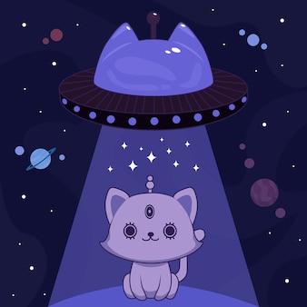Blauwe buitenaardse kat