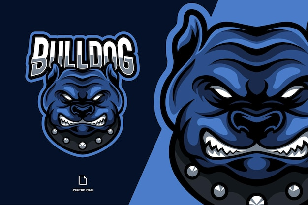 Blauwe bulldog mascotte logo illustratie stripfiguur