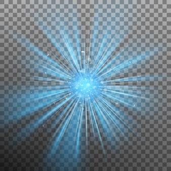Blauwe burst-kleur dwingt licht. Premium Vector