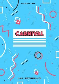 Blauwe carnavalsaffiche. abstracte memphis 80s, 90s stijl retro achtergrond met plaats voor tekst.
