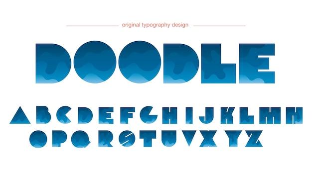Blauwe cartoon kleurovergang golven typografie