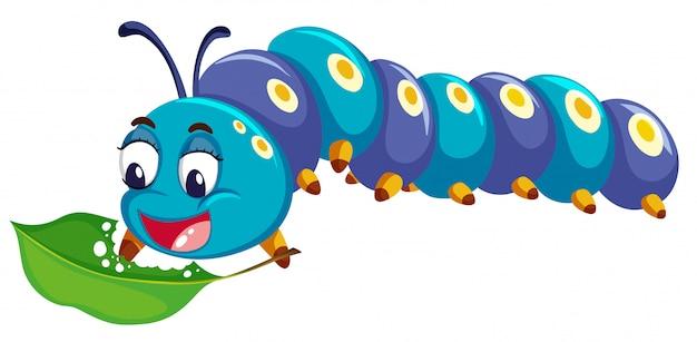 Blauwe catepillar die groen blad eet