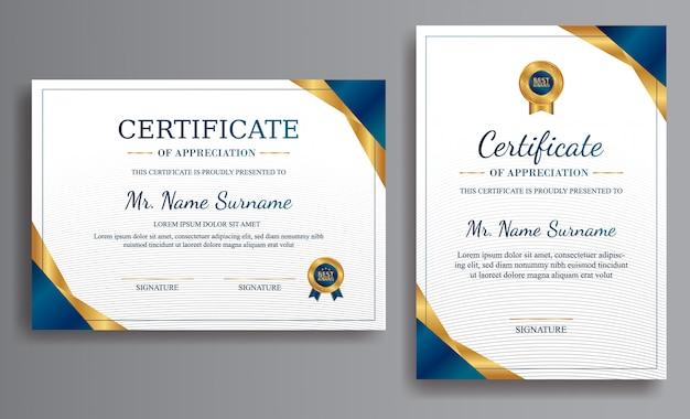 Blauwe certificaatsjabloon met luxe kleur en badges