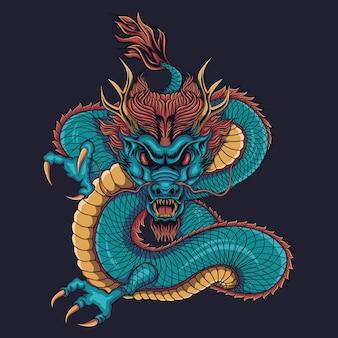 Blauwe chinese draak