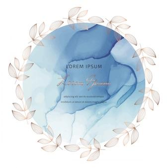 Blauwe cirkel alcohol inkt frames en met de hand getekende botanische bladeren krans.