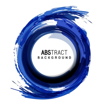 Blauwe cirkel artistieke abstracte borstelslag achtergrond met ronde plaats voor tekst