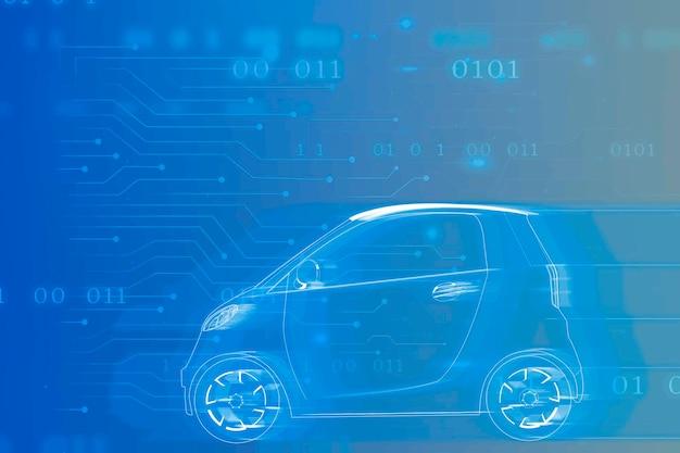 Blauwe compacte hybride auto