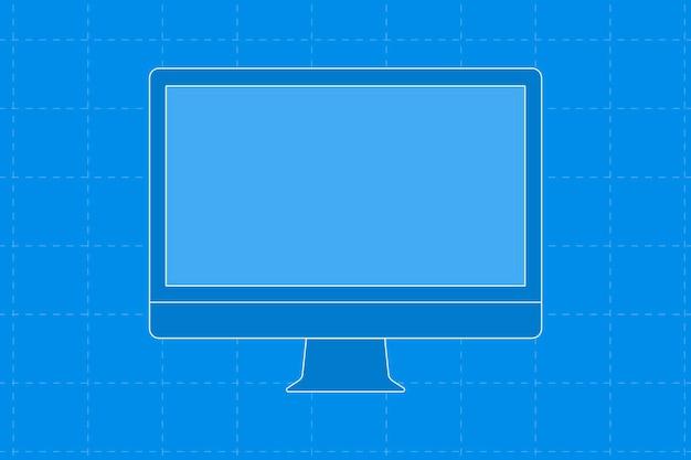 Blauwe computer desktop, leeg scherm digitaal apparaat vectorillustratie