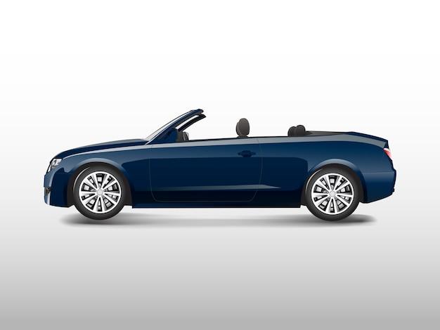 Blauwe convertibele auto die op witte vector wordt geïsoleerd
