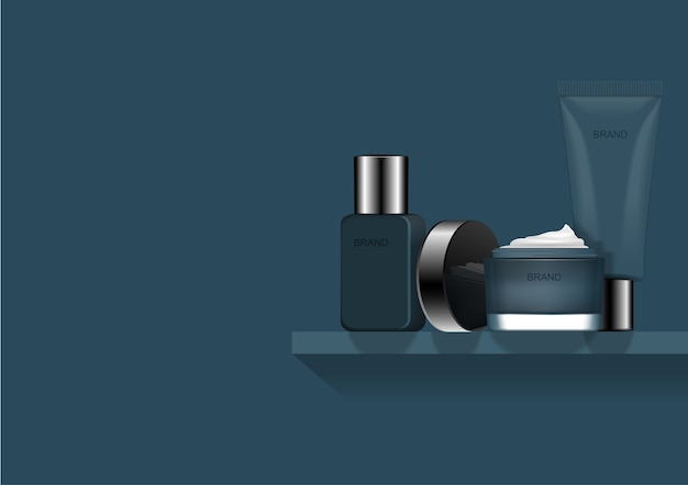 Blauwe cosmetica ingesteld op kleine zwevende plank