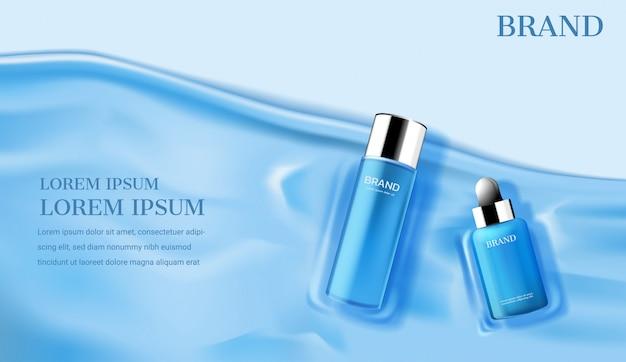 Blauwe cosmetische producten op kust sjabloon