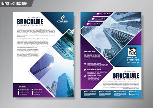 Blauwe cover flyer en brochure zakelijke sjabloon