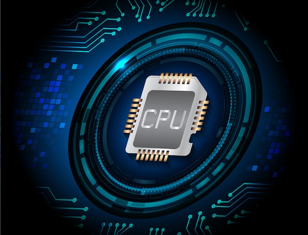 Blauwe cpu cyber circuit toekomstige technologie concept achtergrond
