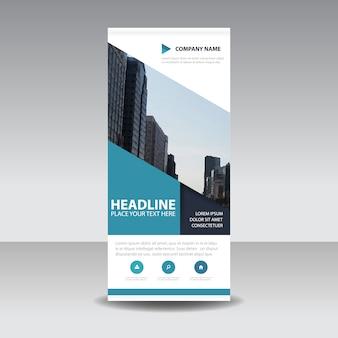 Blauwe creatieve roll-up banner sjabloon