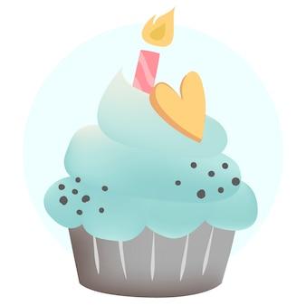 Blauwe cupcakevector met een kaars
