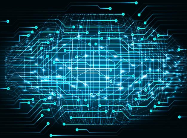 Blauwe cyber circuit toekomstige technologie achtergrond