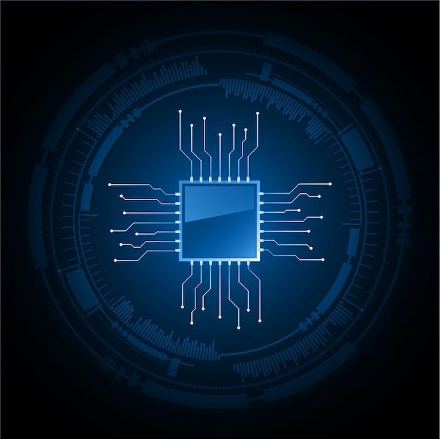 Blauwe cyber cpu circuit toekomstige technologie concept achtergrond