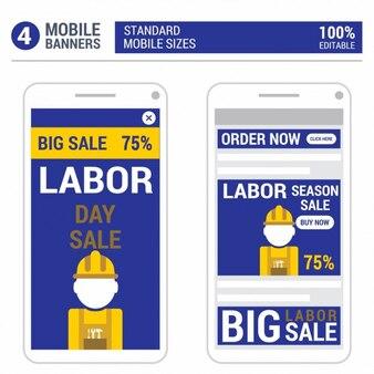 Blauwe dag van de arbeid mobile banner ontwerp set
