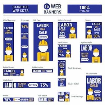 Blauwe dag van de arbeid sale standaard grootte webbanners set vector banners van het web