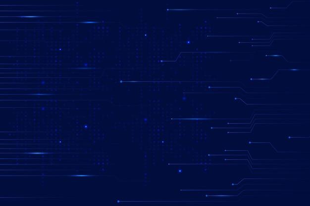 Blauwe data technologie achtergrond met circuit lijnen