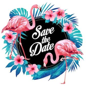 Blauwe de zomer tropische palmbladen, exotische flamingo en hibiscusbloemen.