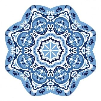 Blauwe decoratieve mandala