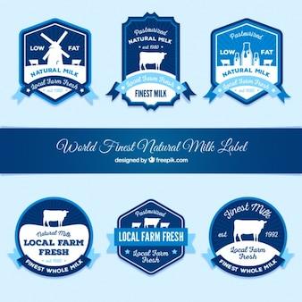Blauwe decoratieve melk stickers