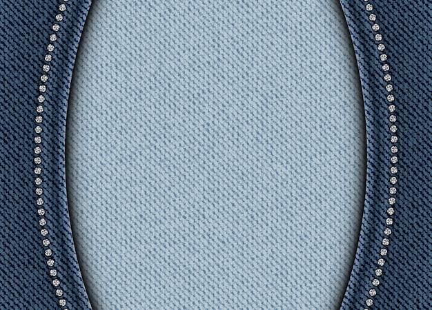 Blauwe denimachtergrond met bogen en lovertjesgrenzen
