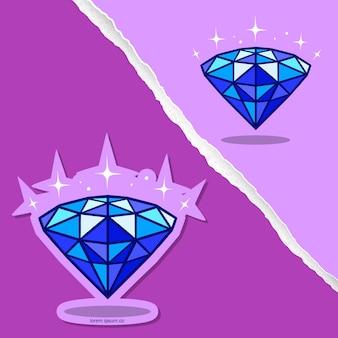 Blauwe diamant cartoon, stickerontwerp.