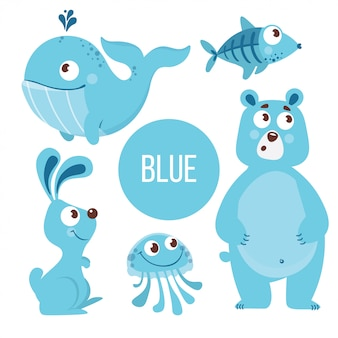 Blauwe dieren: walvis, vis, beer, konijn, kwallen