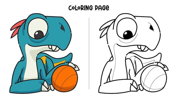 Blauwe dinosaurus en basketbal
