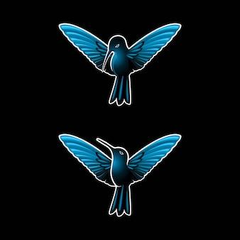 Blauwe donkere colibri of kolibrie kan als logo worden gebruikt