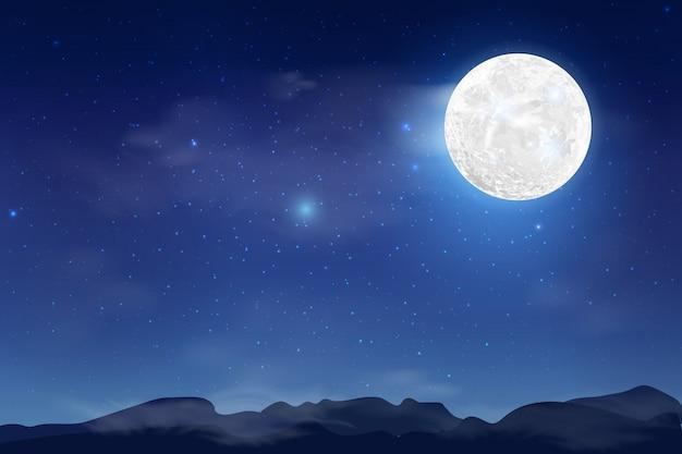 Blauwe donkere nacht hemelachtergrond met maan, wolken en sterren. maanlicht nacht. milkyway kosmos achtergrond