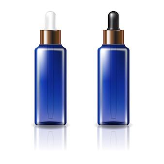 Blauwe doorzichtige vierkante cosmetische fles met wit en zwart-koperen druppeldeksel.