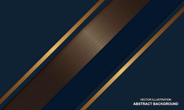 Blauwe dop abstracte achtergrond met gouden lijnen luxe