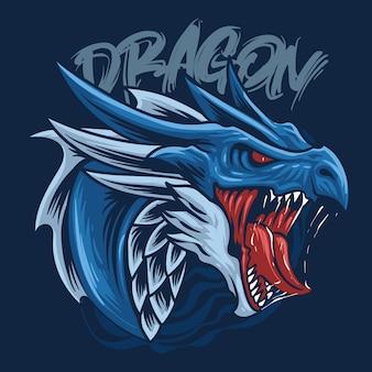 Blauwe draak hoofdillustratie