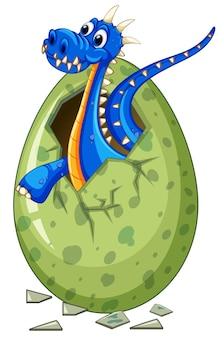 Blauwe draak komt uit ei