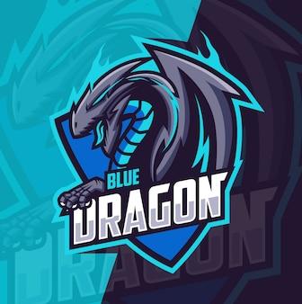 Blauwe draak mascotte esport logo