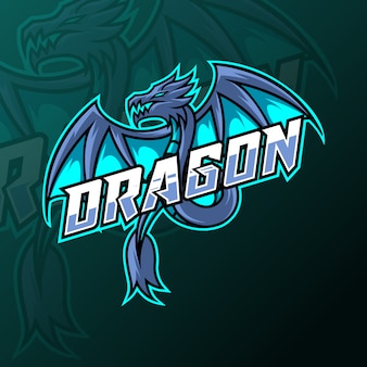 Blauwe draak vliegen mascotte gaming logo ontwerpsjabloon