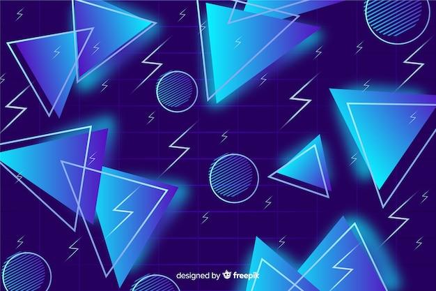 Blauwe driehoek achtergrond 80's stijl
