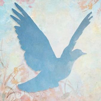 Blauwe duif silhouet schilderij achtergrond