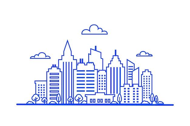 Blauwe dunne lijn stadslandschap