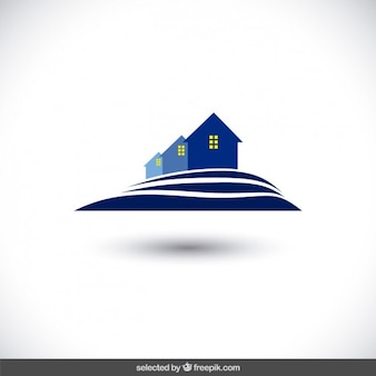 Blauwe echte staat logo